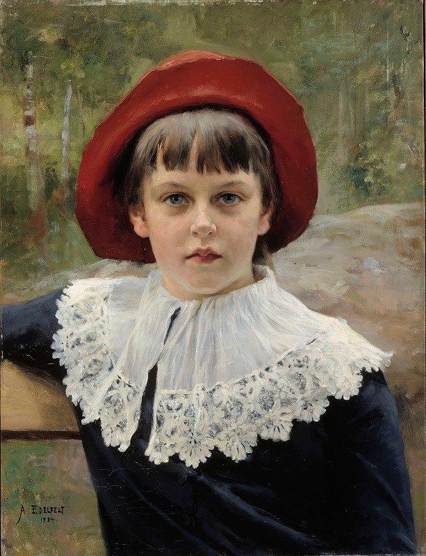 Albert Edelfelt - Portrait Of The Artist's Sister Berta Edelfelt