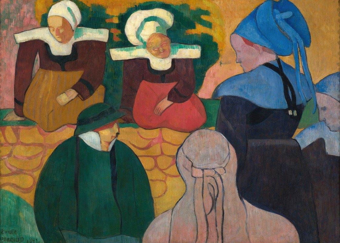 Emile Bernard - Breton Women At A Wall