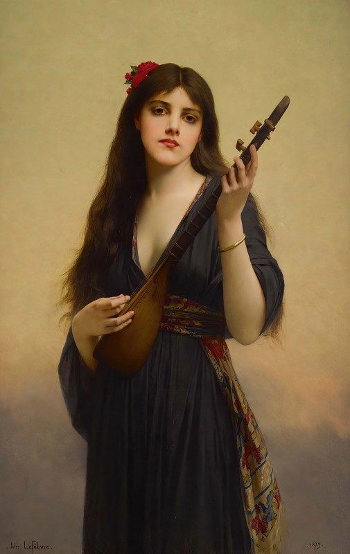 Jules Joseph Lefebvre - Woman Playing A Lute