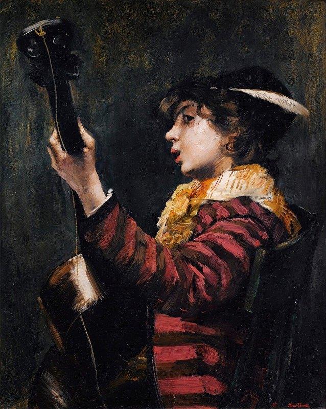 Norbert Goeneutte - Young Boy Playing The Guitare