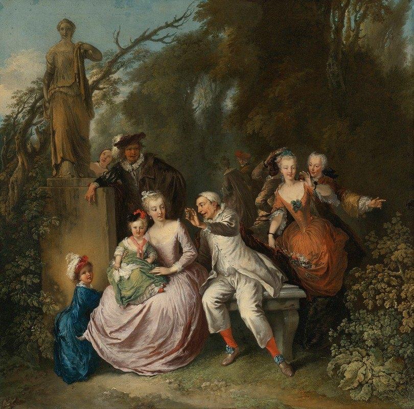 Christian Wilhelm Ernst Dietrich - Eine komödiantische Aufführung in einem Park