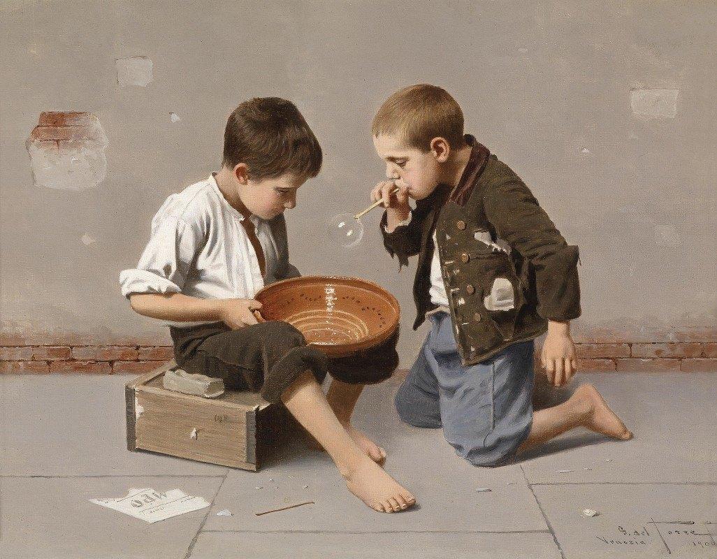 Giulio del Torre - Seifenblasende Kinder