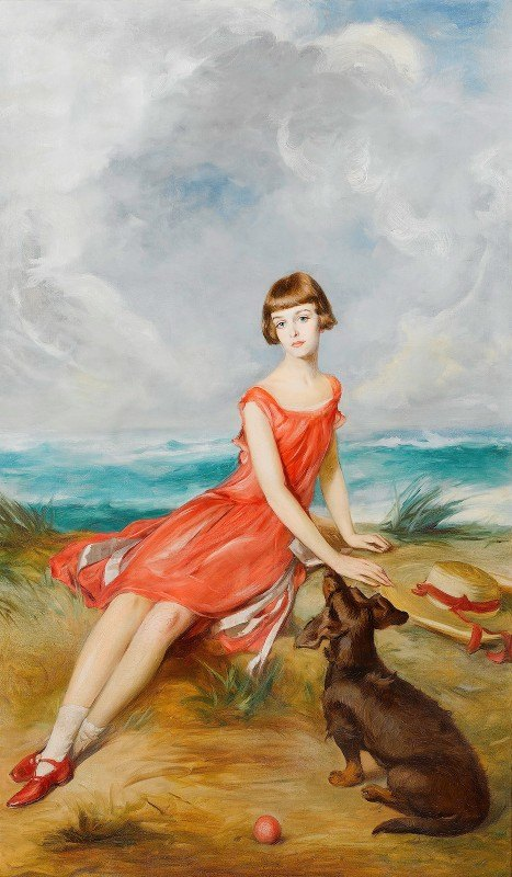 Adolf Pirsch - Portrait Of A Young Girl With Her Dog By The Sea