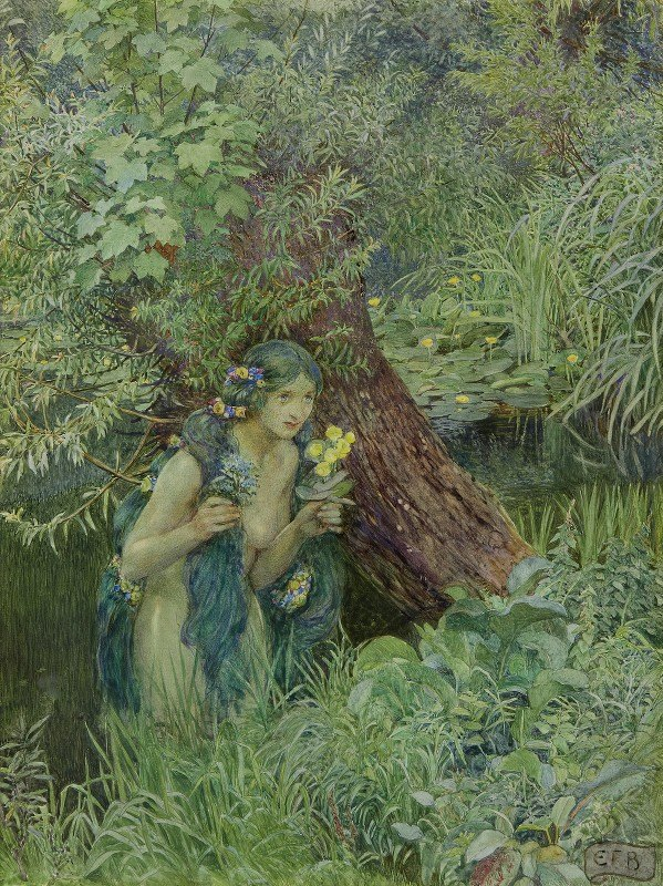 Eleanor Fortescue-Brickdale - With Goodly Greenish Locks, All Loose 'untied'