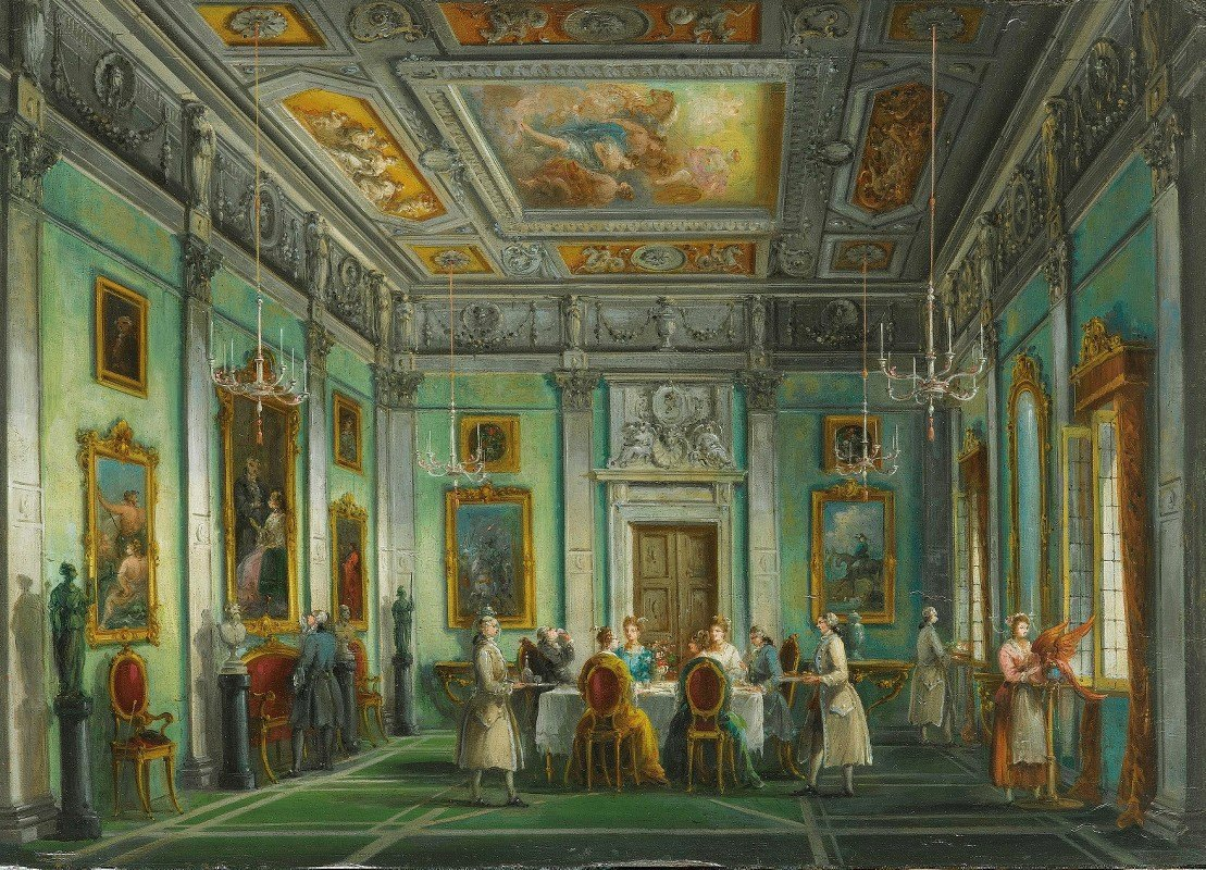 Giuseppe Bernardino Bison - Interior Of An Elegant Dining Room With A Dinner Party