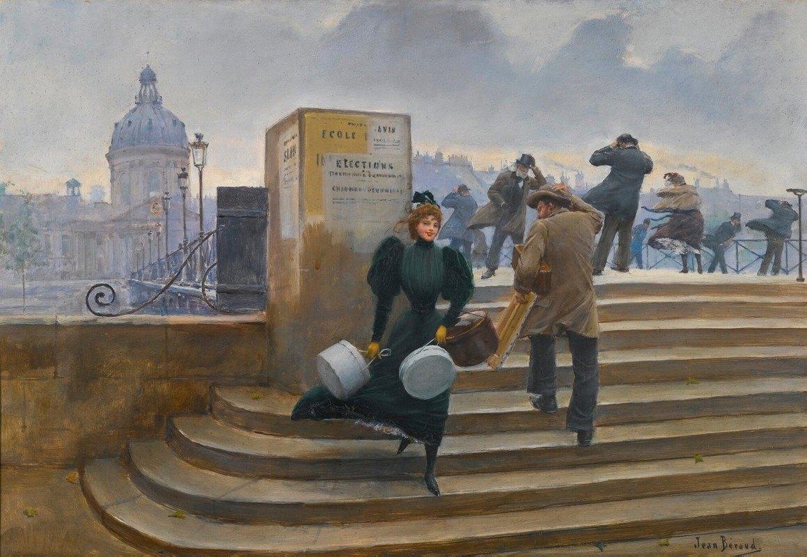 Jean Béraud - Modiste Sur Le Pont Des Arts