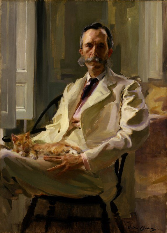 Cecilia Beaux - Man with the Cat (Henry Sturgis Drinker)