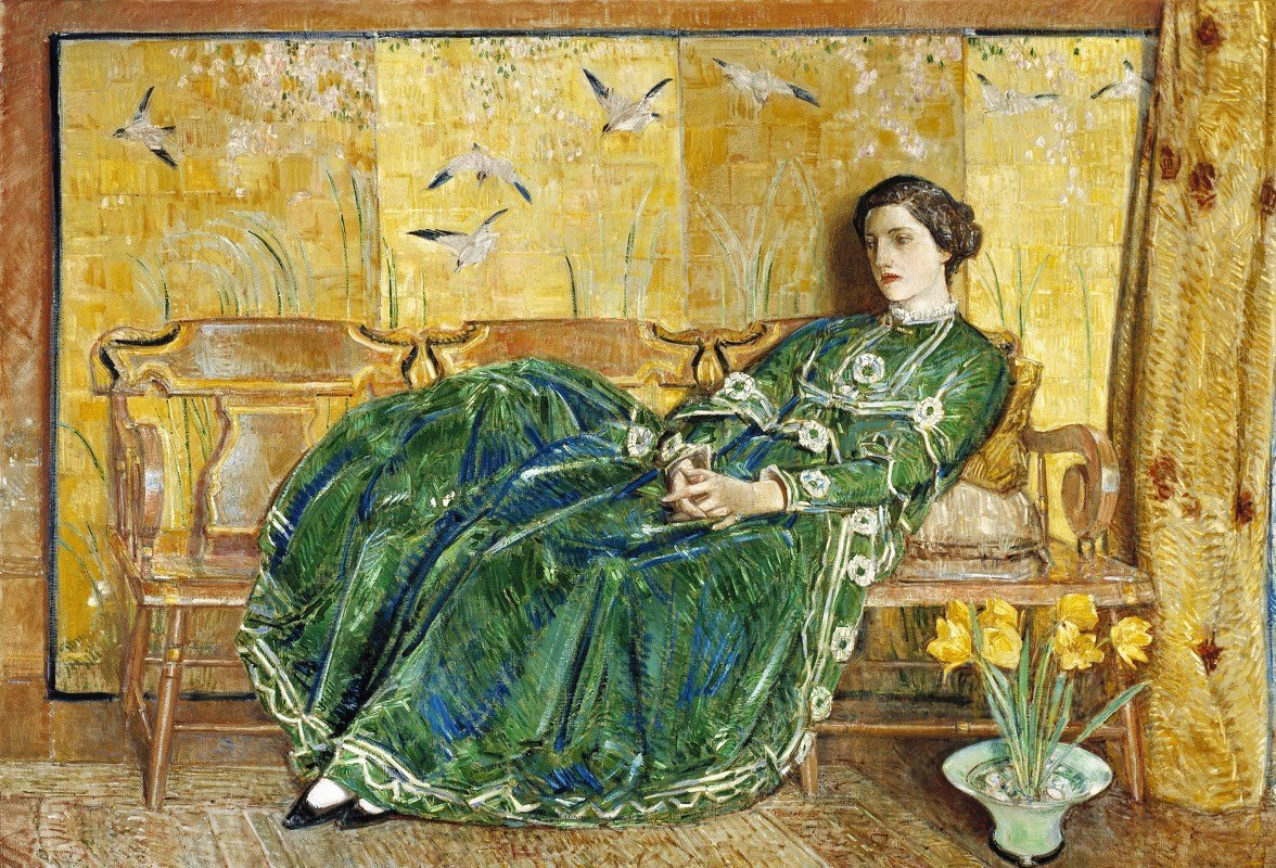 Childe Hassam - April, (The Green Gown)