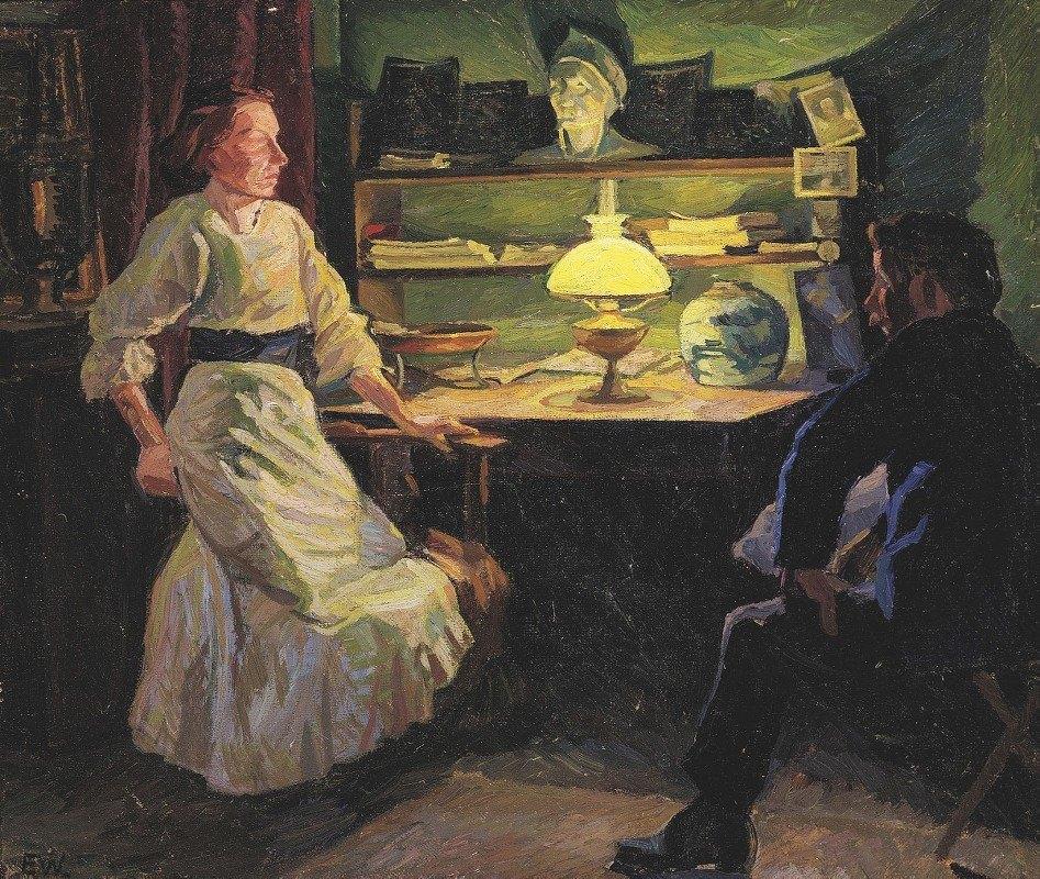 Edvard Weie - Interiør med lampelys og to figurer