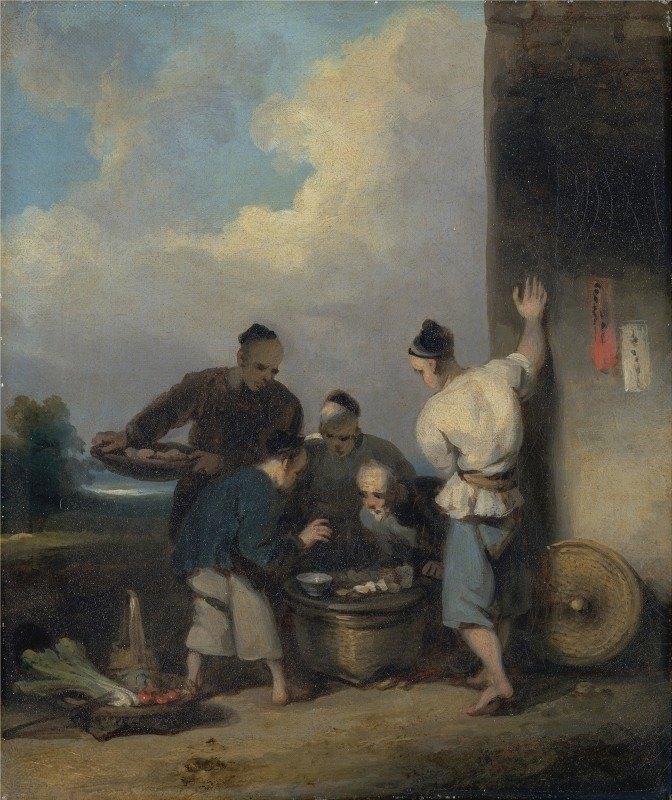 George Chinnery - Coolies Round the Food Vendor's Stall