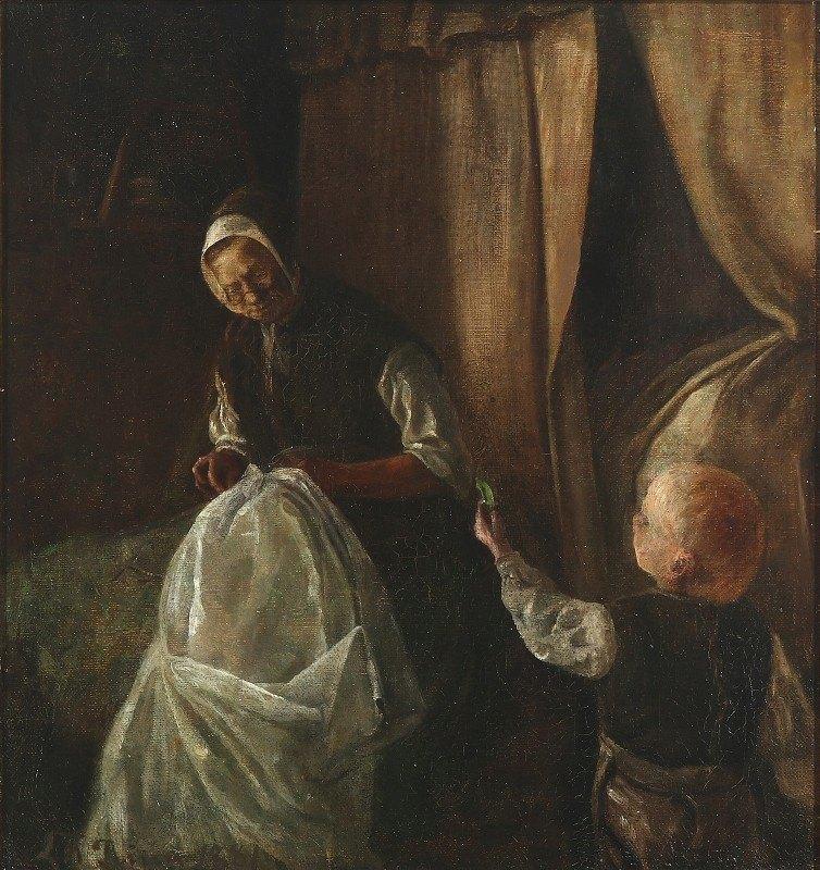 L.A. Ring - En dreng rækker sin bedstemor en grøn ært