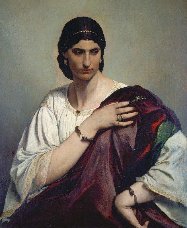 Anselm Feuerbach - Lucrezia Borgia, Portrait of a Roman woman in white tunic and red robe