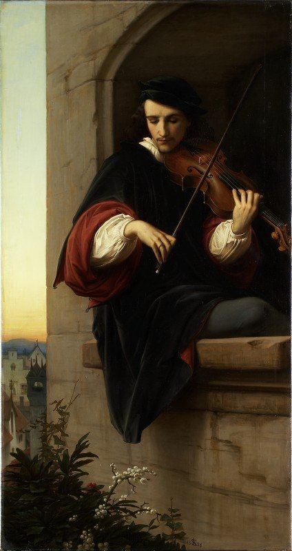 Edward Von Steinle - Violinist in the Belfry Window