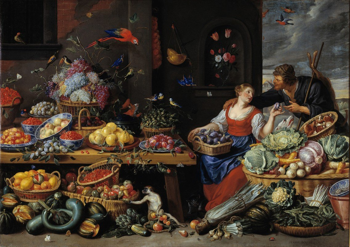 Jan Van Kessel The Elder - Fruit and Vegetable Market with a Young Fruit Seller