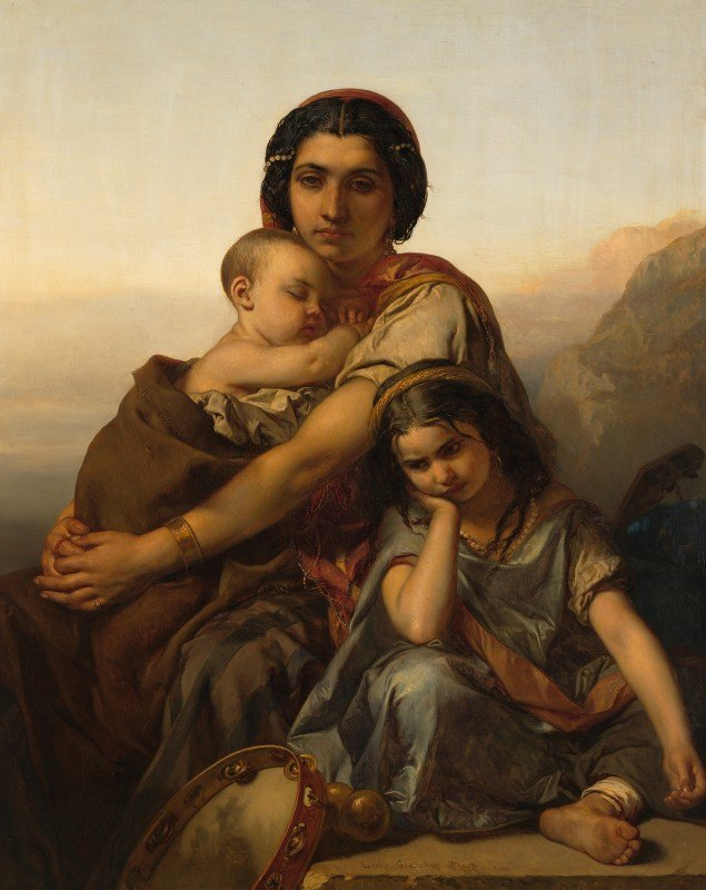 Louis Gallait - A gypsy with two children