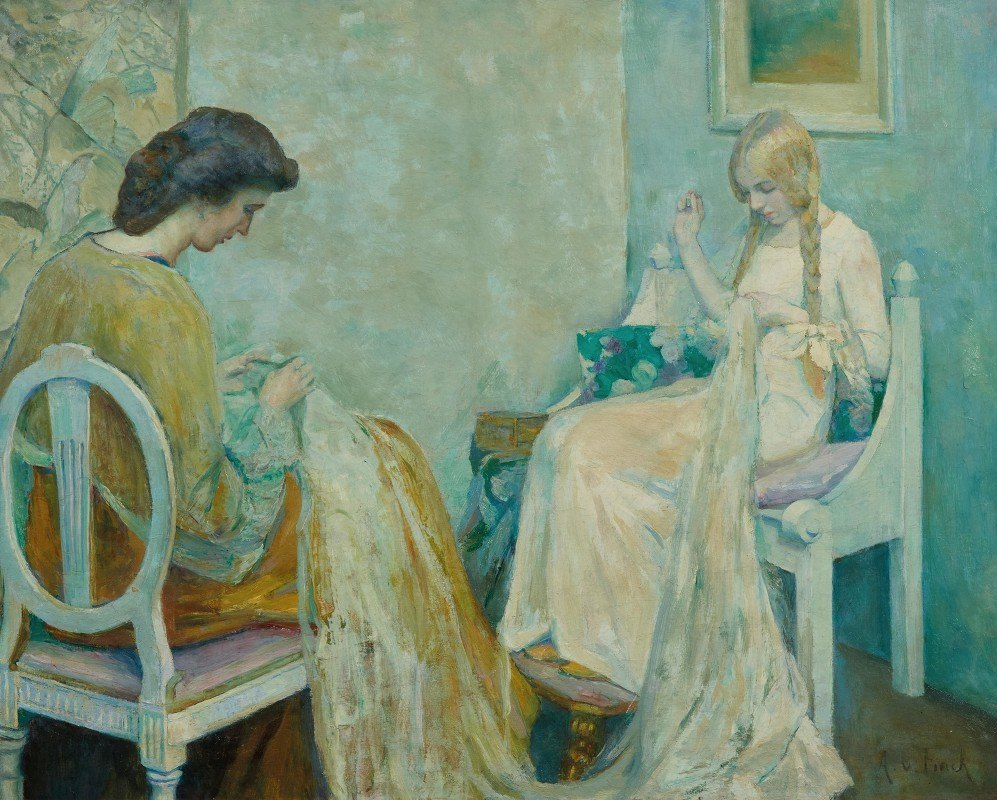 Adele von Finck - Two Ladies Sewing