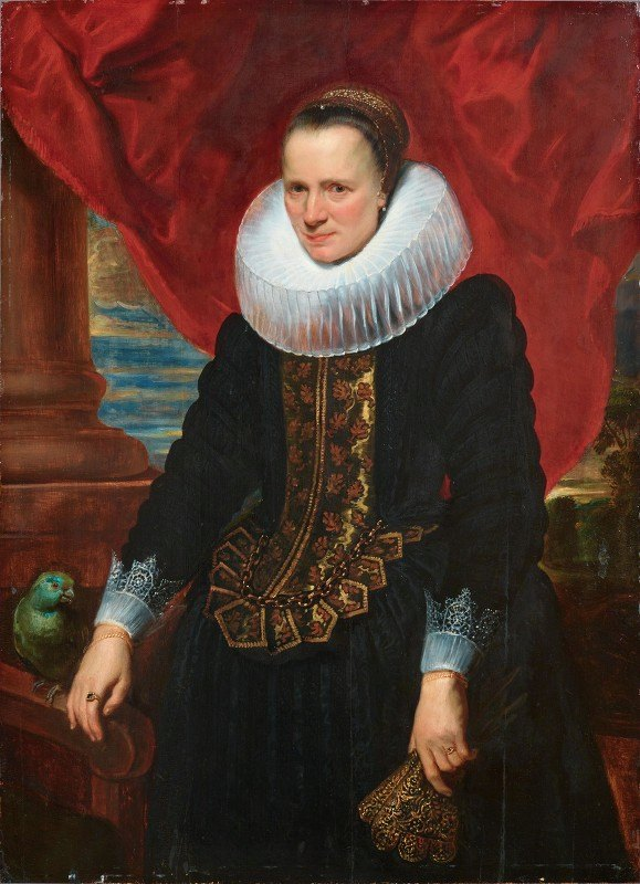 Anthony van Dyck - Portrait Of A Noblewoman With A Parrot