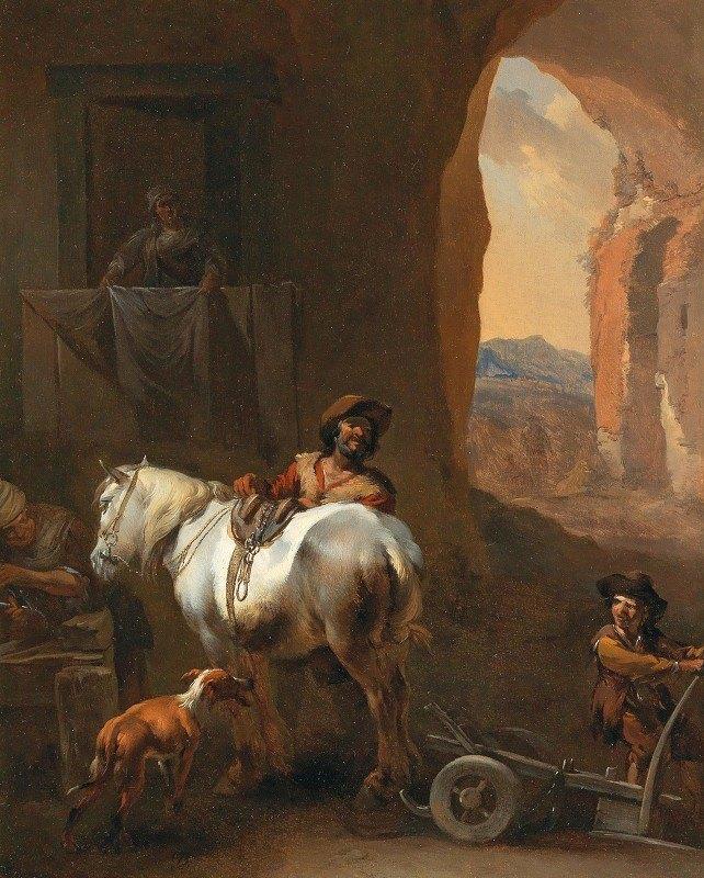 Nicolaes Pietersz. Berchem - A Stable Interior