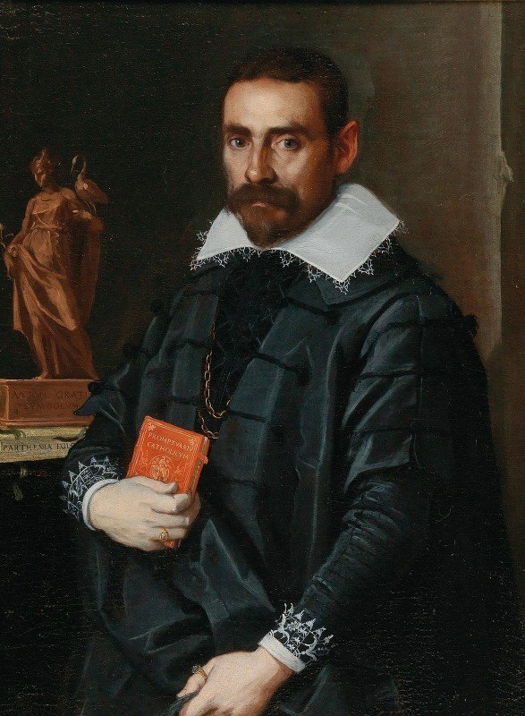School of Bergamo - Portrait Of A Gentleman, Three-Quarter Length, Holding A Book With A Statue In The Background