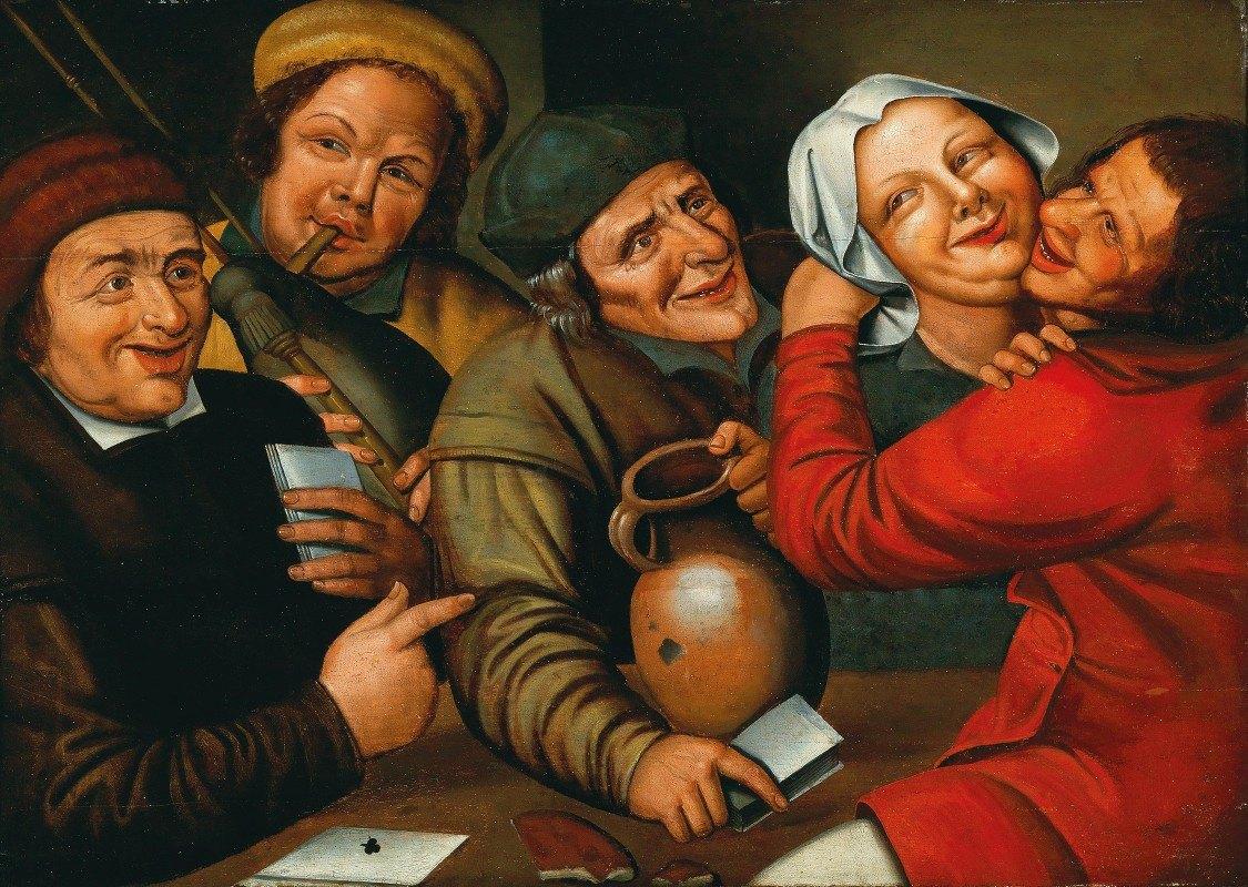 Workshop of Jan Massys - Peasants Carousing And Playing Cards