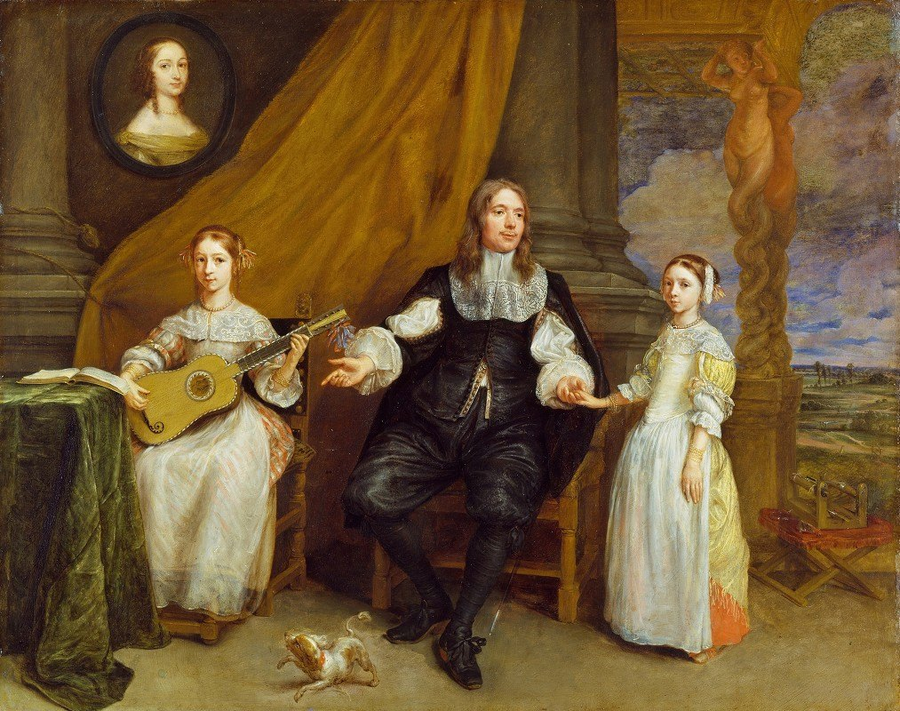 Gonzales Coques - A Gentleman with his two Daughters