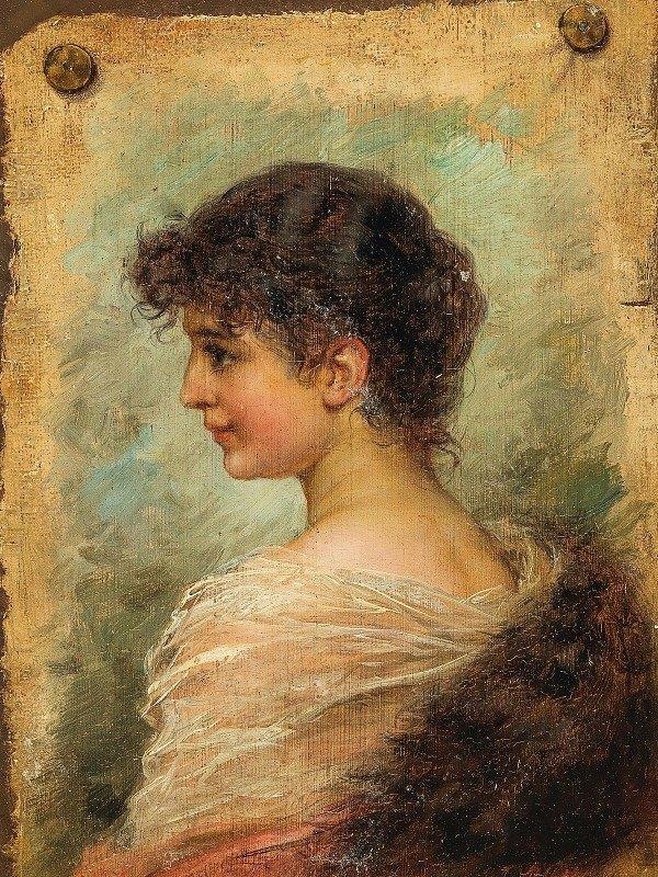 Hans Zatzka - Profile Portrait of a Young Woman