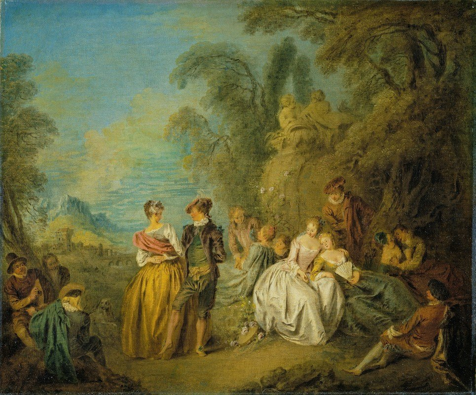 Jean-Baptiste Pater - Fête galante with a Dancing Couple