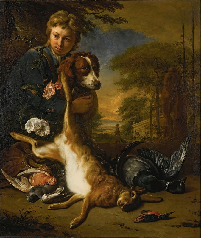 Jan Weenix - A Boy And A Dog With A Still Life Of Game, In A Park Landscape