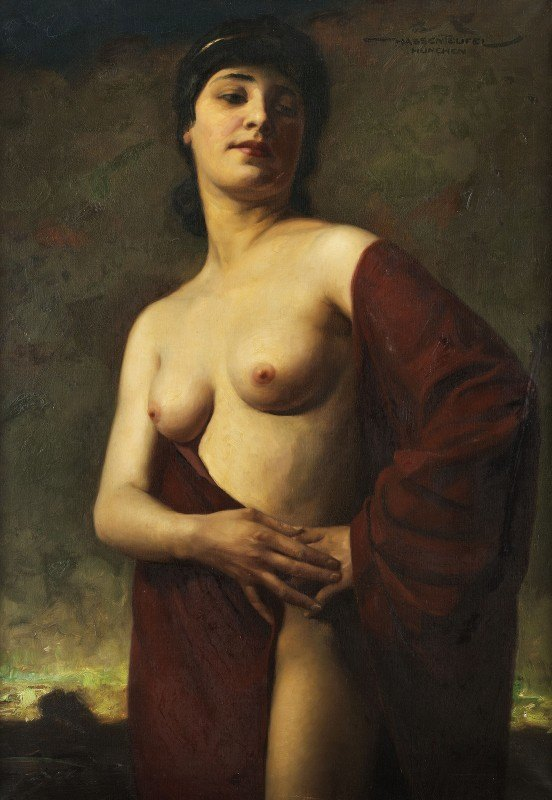 Hans Hassenteufel - Halbakt einer jungen Frau