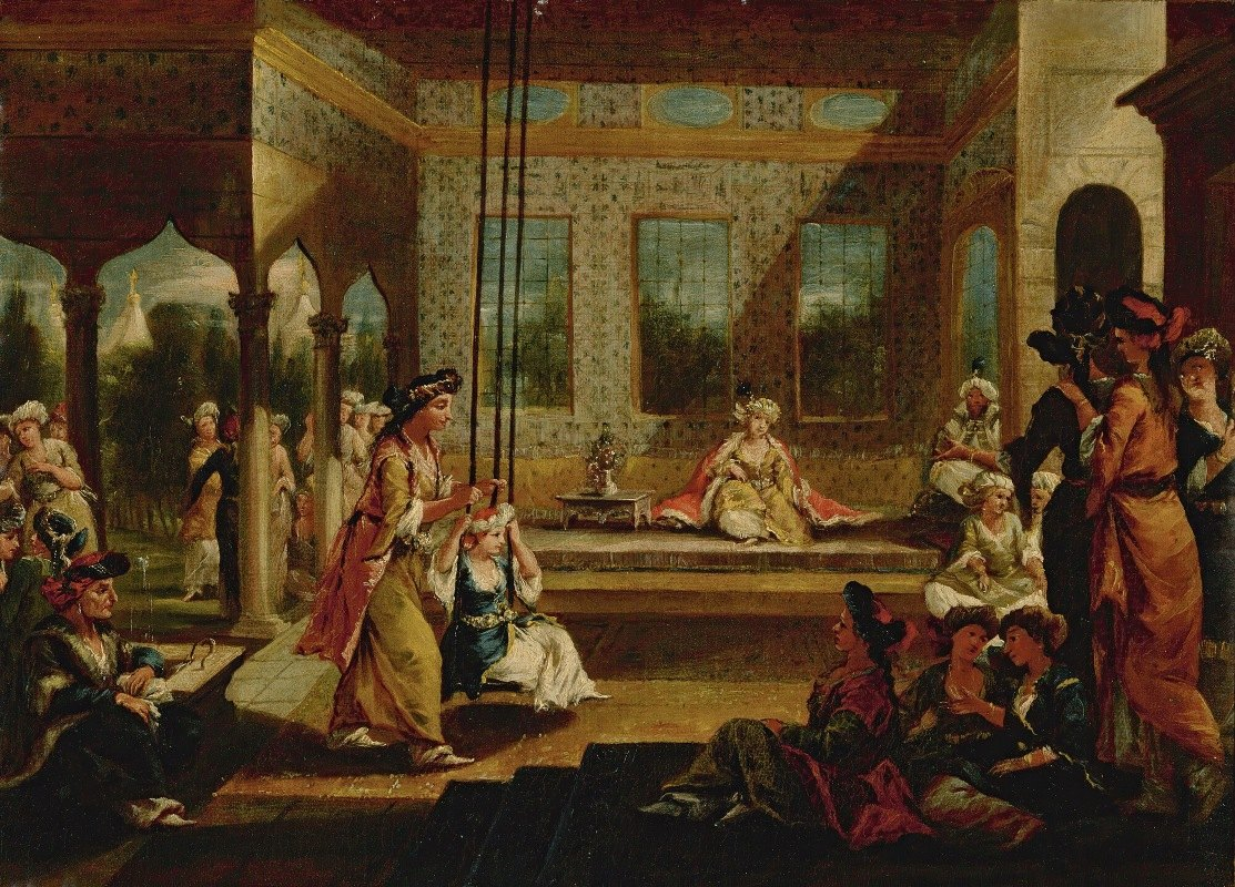 Giovanni Antonio Guardi - A Harem SceneWith Soldiers Smoking And OdalisquesRelaxing And Playing On a Swing In An Interior Courtyard