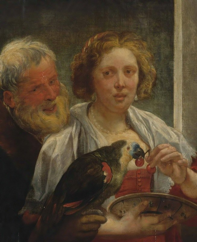 Jacob Jordaens - A Bearded Man And a Woman With a Parrot; 'unrequited Love'