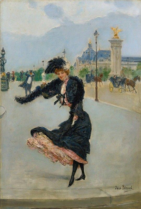 Jean Béraud - Elegante Devant Le Grand Palais Sur Le Pont Alexandre Iii