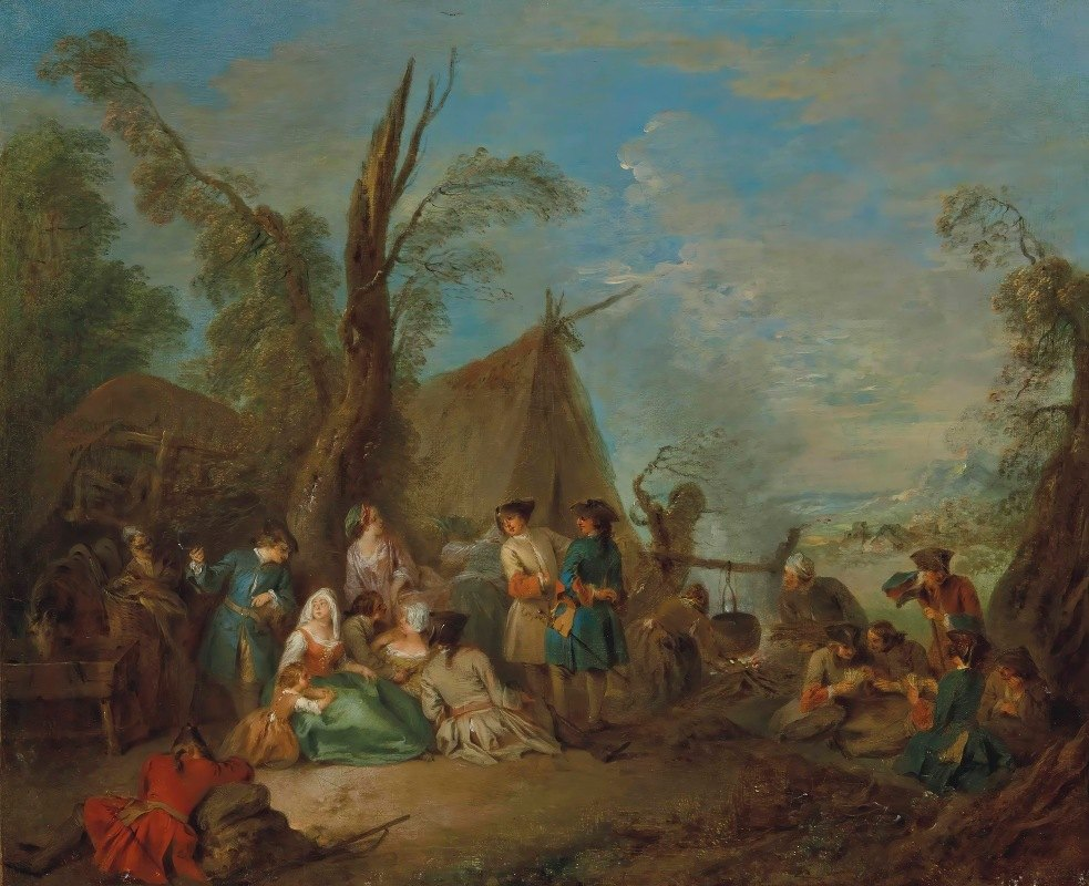 Jean-Baptiste Pater - Soldiers And Vivandières Cooking And Resting Around A Campfire, A Wagon And A Tent Beyond