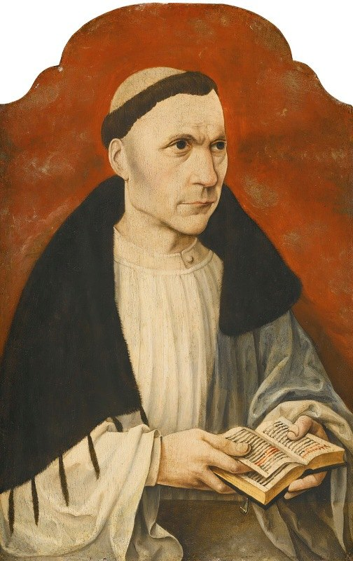 German School - Portrait Of An Augustinian Canon Wearing A Black Almuce