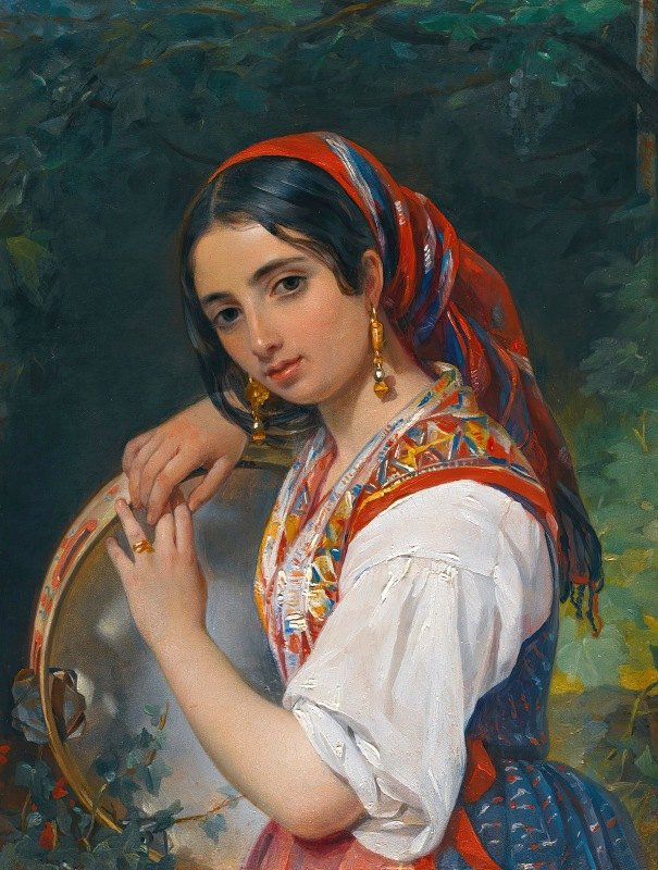 Pimen Nikitich Orloff - A Shepherd Girl With A Tambourine