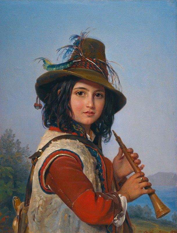 Pimen Nikitich Orloff - Portrait Of An Italian Shepherd Boy With A Flute
