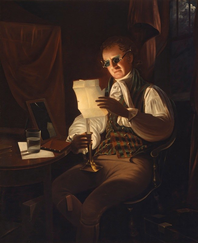 Rembrandt Peale - Man Reading By Candlelight