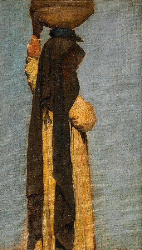 Leopold Carl Müller - Figurenstudie einer gefäßtragenden Araberin