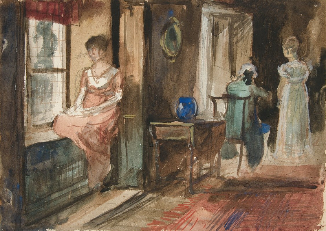 Edwin Austin Abbey - Sketch of figures in an interior