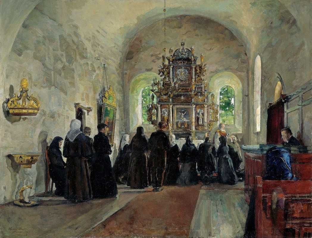 Harriet Backer - The Holy Communion celebrated in Stange Church