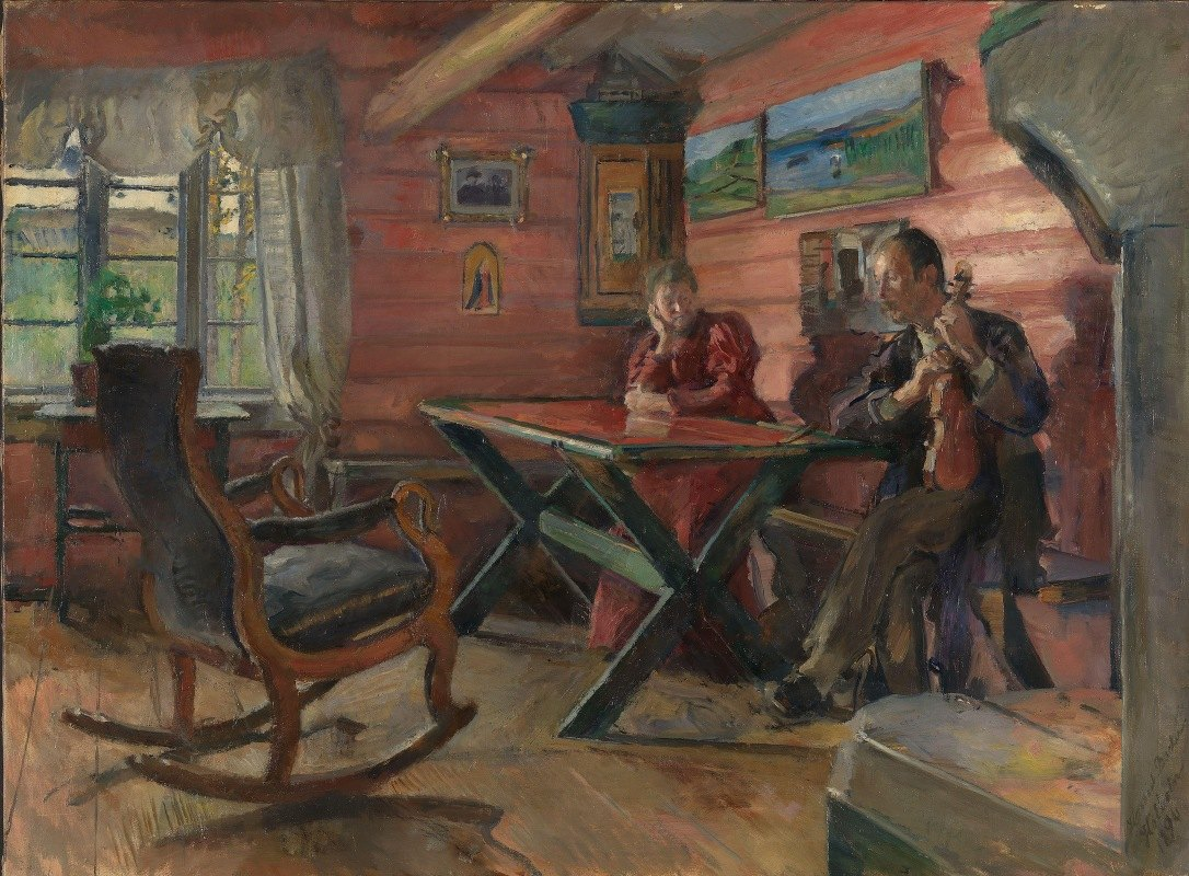 Harriet Backer - The Living Room at Kolbotn, (Hulda and Arne Garborg's home)