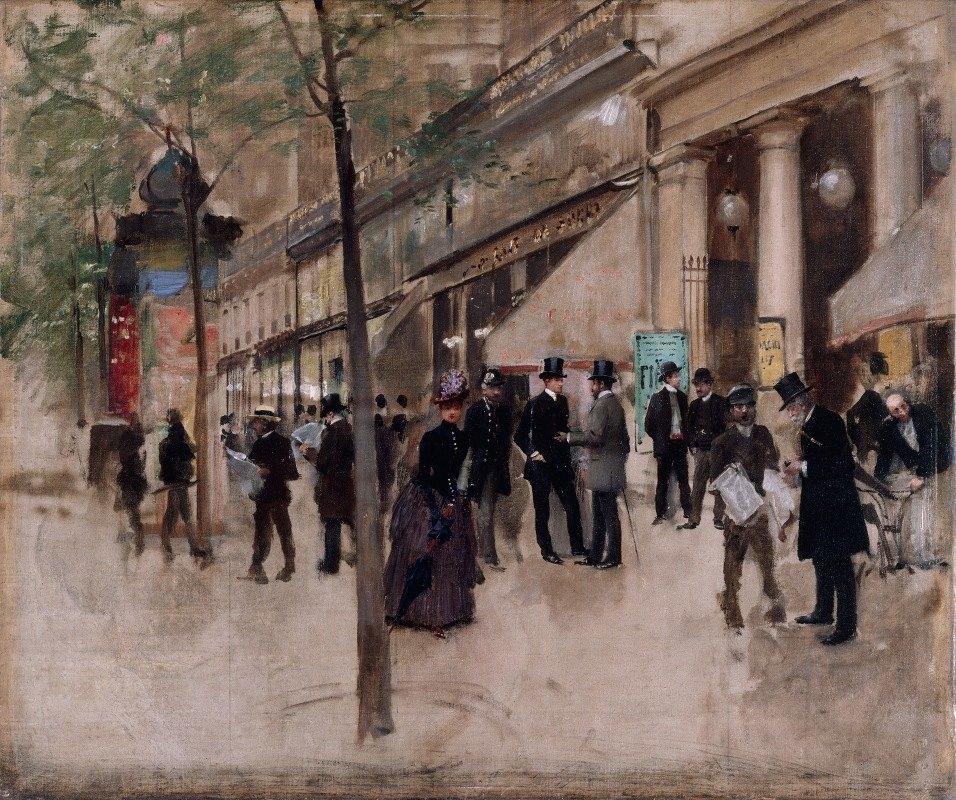 Jean Béraud - Le boulevard Montmartre, devant le théâtre des Variétés, l'après-midi