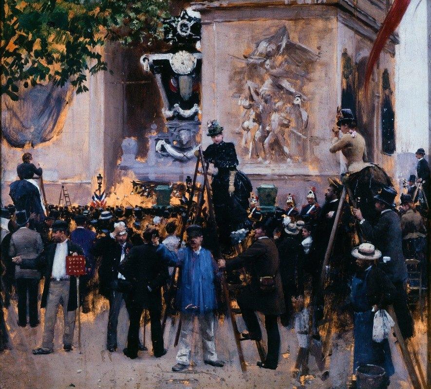 Jean Béraud - Les funérailles de Victor Hugo, place de l'Étoile (1er juin 1885)