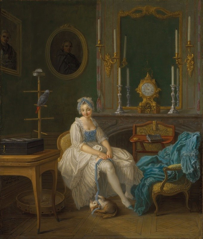 Etienne Jeaurat - The interior of a boudoir, with a lady in a white and blue dress