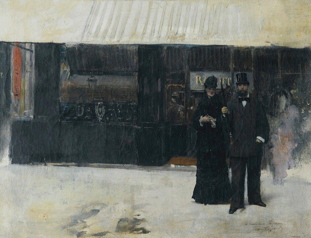 Jean Béraud - Couple devant une bijouterie