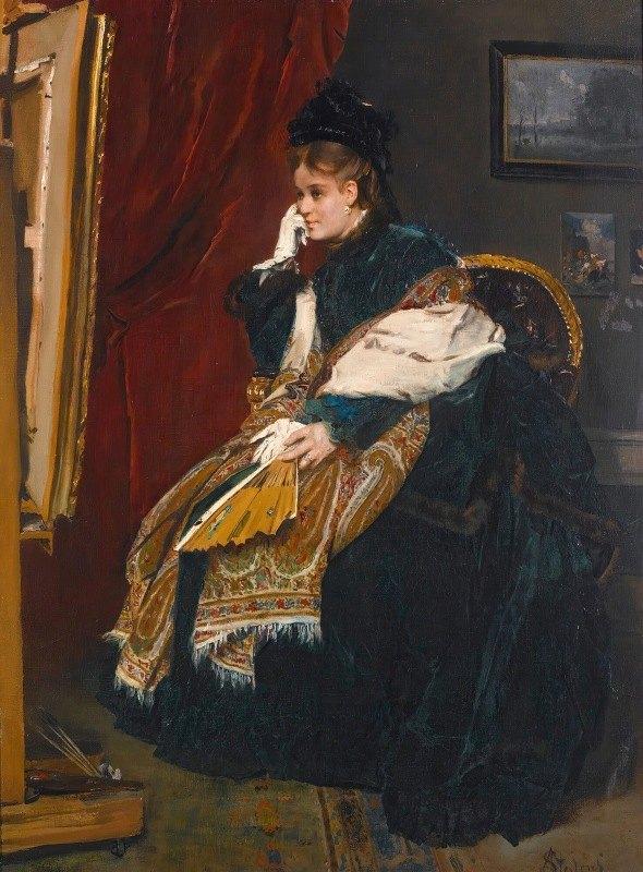 Alfred Stevens - La femme en vert dans l'atelier