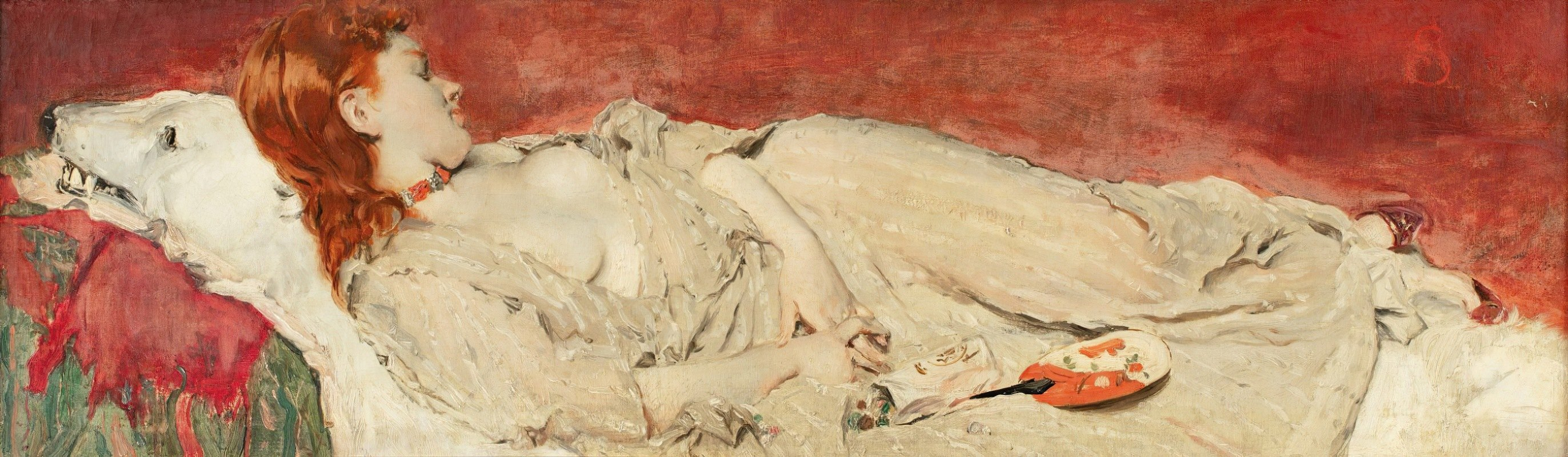 Alfred Stevens - A young red-hair girl sleeping on a bearskin
