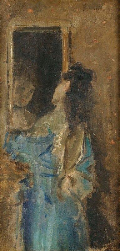 Alfred Stevens - Girl in blue looking in a mirror