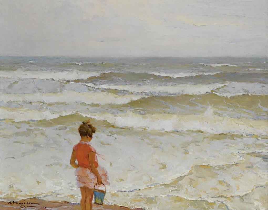 Charles Atamian - Girl by the seashore
