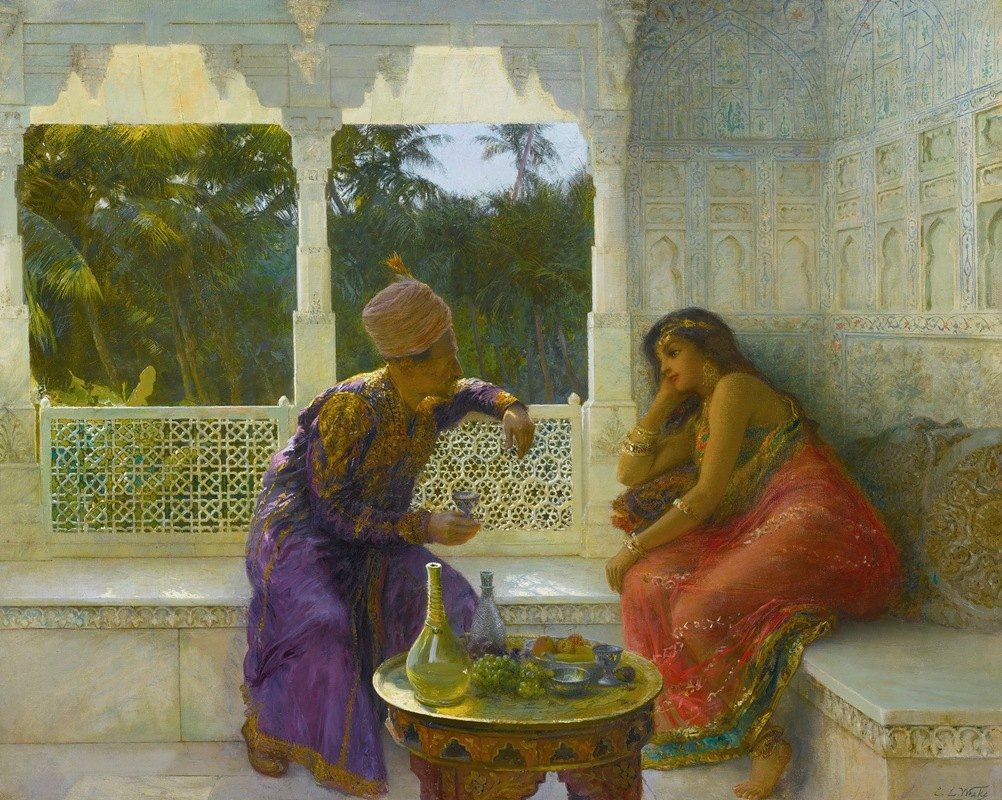 Edwin Lord Weeks - Figures in an interior with garden of palms beyond